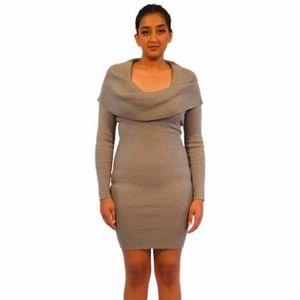NWOT Heather Grey Sweater Cowl Neck BodyCon Dress
